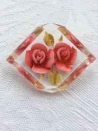 Pink Roses Vintage Brooch - 1940s Lucite Brooch - Very Chunky Deep-Carved Brooch  (SOLD)